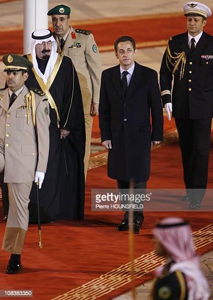 Nicolas Sarkozy and King Abdullah Bin Abdulaziz Al Saud in Riyadh Saudi Arabia on January 13th 2008