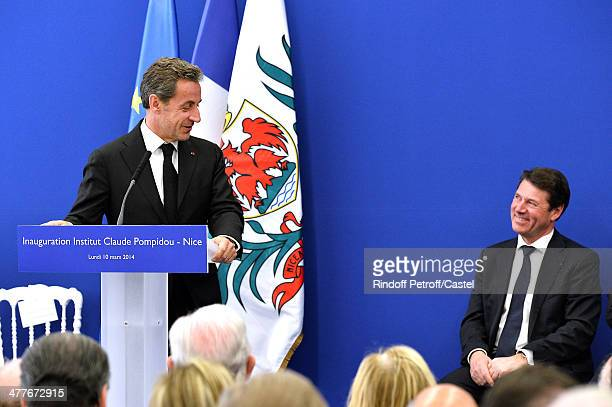 Nicolas Sarkozy and Mayor of Nice Christian Estrosi attend the inauguration of the Claude Pompidou Institute dedicated to the fight against...