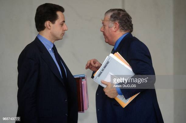 Nicolas Sarkozy And Michel Charasse After Council Of Ministers Meeting At Elysee Presidential Palace Paris April 28 1993