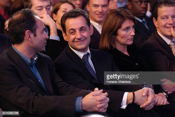 Nicolas Sarkozy and wife Cecilia at the UMP congress in Le Bourget Sarkozy the outgoing French Finance Minister replaces Alain Juppe as party leader...