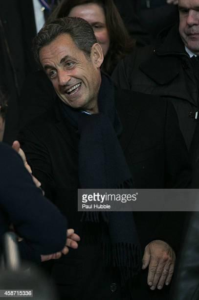 Nicolas Sarkozy attends the Paris Saint Germain vs Olympique de Marseille football match at Parc des Princes on November 9 2014 in Paris France