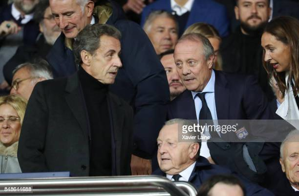 Nicolas Sarkozy Bernard Lacombe and JeanMichel Aulas attend the French Ligue 1 match between Paris Saint Germain and Olympique Lyonnais at Parc des...