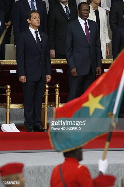 Nicolas Sarkozy, Blaise Compaore in Paris, France on July 14th, 2010.