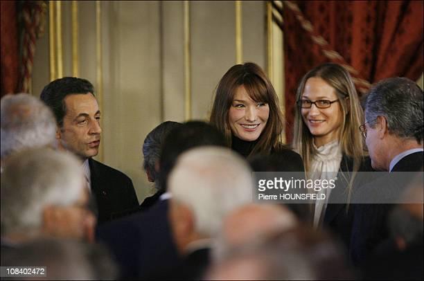 Nicolas Sarkozy, Carla Bruni Sarkozy and sister Consuelo Remmert in Paris, France on December 08, 2008.