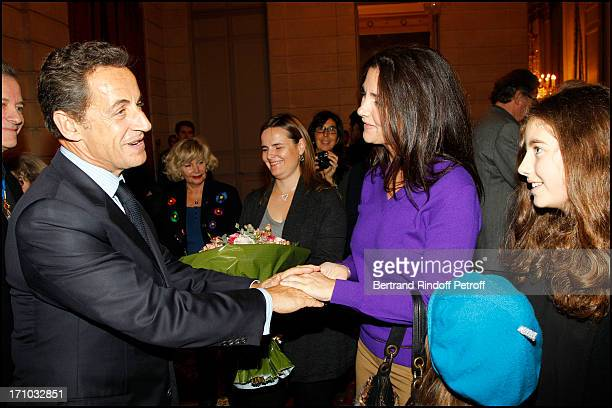Nicolas Sarkozy Cristiana Reali and daughter Toscane Huster at Francis Huster Received As Commander In the National Order Of Merit During Ceremony At...