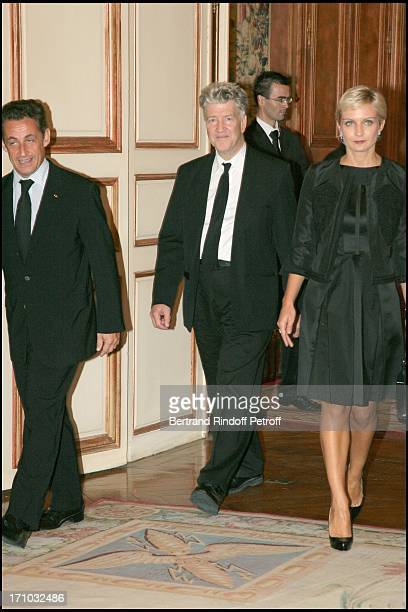 Nicolas Sarkozy David Lynch and Melita Toscan Du Plantier David Lynch is made Officer of the Legion of Honor at the Elysee palace