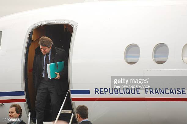 Nicolas Sarkozy during his arrival to the airport In Nancy France On December 11 2007 The head of state Nicolas Sarkozy on his arrival at the airport...
