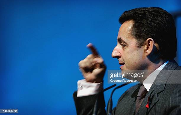 Nicolas Sarkozy, Finance Minister and Leader Candidate ,UMP party France addresses delegates on the final day of the CBI annual conference on...