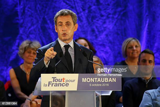 Nicolas Sarkozy former French President and centerright party President 'Les Republicains' delivers a speech during a meeting at salle des fetes...