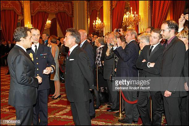 Nicolas Sarkozy Gerard Holtz with children Julien and Antoine at Francois Kosciusko Morizet Receives Honour At The Palais De L'Elysee In Paris