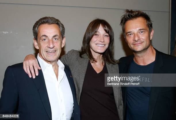 Nicolas Sarkozy, his wife Carla Bruni-Sarkozy and David Hallyday attend Sylvie Vartan performs at L'Olympia on September 15, 2017 in Paris, France.