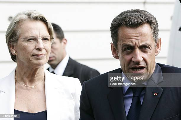 Nicolas Sarkozy in displacement to Bayonne France On August 24 2007Michelle AlliotMarie Minister of the Interior and Nicolas Sarkozy visit the Hôtel...