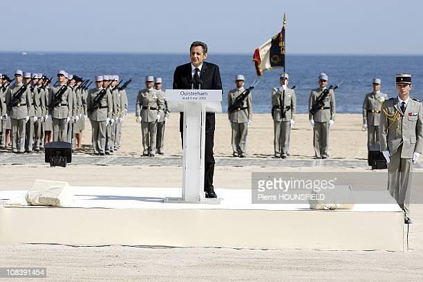 Nicolas Sarkozy in Ouistreham, France on May 08th, 2008.