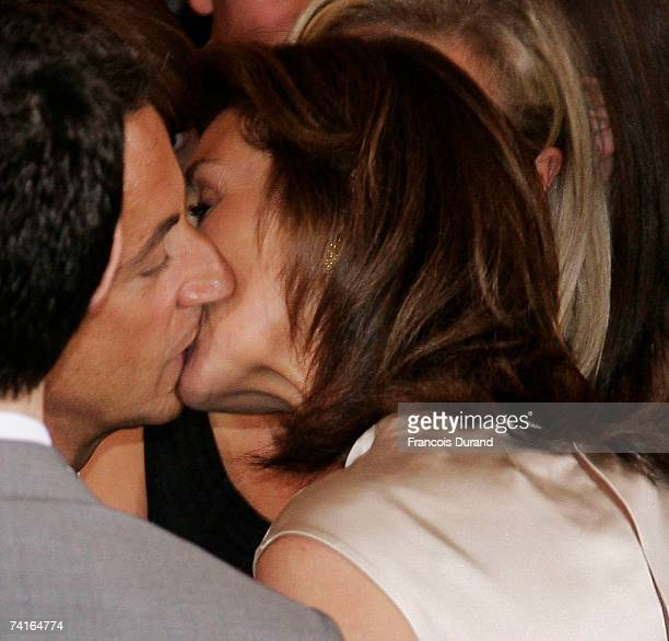 Nicolas Sarkozy kisses his wife Cecilia after being officially invested as France's president on May 16 2007 in Paris France UMP Leader Sarkozy...