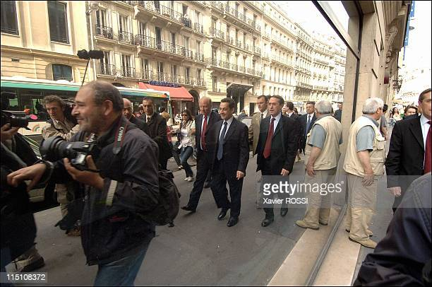 Nicolas Sarkozy Minister of Interior Department at the time of his taking possession of the ministry in Paris France on June 03 2005 Brice Hortefeux...