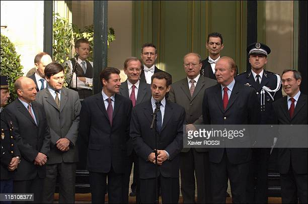 Nicolas Sarkozy Minister of Interior Department at the time of his taking possession of the ministry in Paris France on June 03 2005 Pierre Mutz...