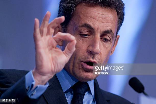 Nicolas Sarkozy president of France speaks during the opening plenary session on day one of the 2010 World Economic Forum annual meeting in Davos...