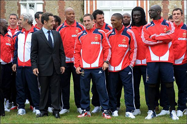 Image result for Sarkozy and france soccer team