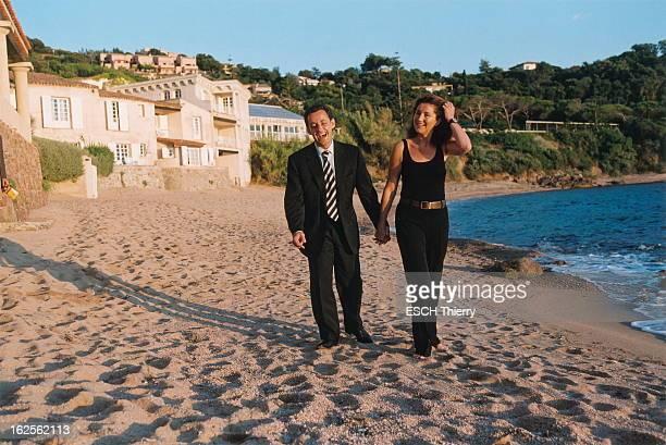 Nicolas Sarkozy With His Wife Cecilia In Corsica. Le ministre de l'Intérieur Nicolas SARKOZY avec son épouse Cécilia à PORTICCIO en Corse : samedi en...