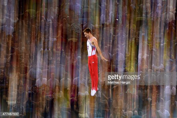 Nicolas Schori of Switzerland competes in the Men's Gymnastics Trampoline Individual Qualification during day five of the Baku 2015 European Games at...