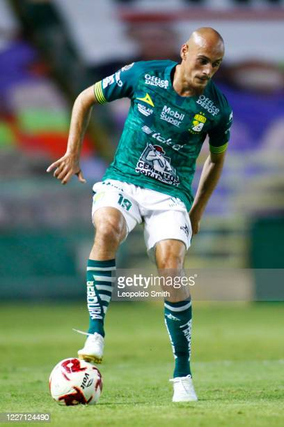 Nicolas Sosa of Leon drives the ball during a match between Leon and FC Juarez as part of the friendly tournament Copa Telcel at Leon Stadium on July...