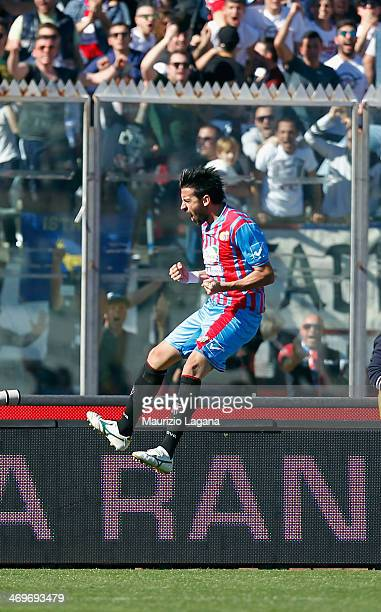 Nicolas Spolli of Catania celebrates after scoring his team's second goal during the Serie A match between Calcio Catania and SS Lazio at Stadio...
