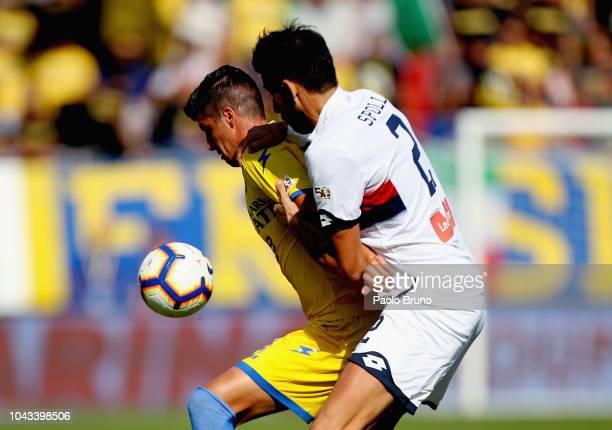 Nicolas Spolli of Genoa CFC competes for the ball with Stipe Perica of Frosinone Calcio during the Serie A match between Frosinone Calcio and Genoa...