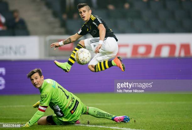 Nicolas Stefanelli of AIK scores to 20 during the Allsvenskan match between AIK and IF Elfsborg at Friends Arena on October 1 2017 in Solna Sweden