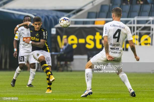 Nicolas Stefanelli of AIK shots at goal during the Allsvenskan match between AIK and BK Hacken at Friends Arena on August 22, 2021 in Stockholm,...