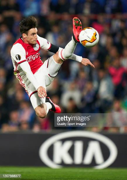 Nicolas Tagliafico of AFC Ajax in action during the UEFA Europa League round of 32 first leg match between Getafe CF and AFC Ajax at Coliseum Alfonso...