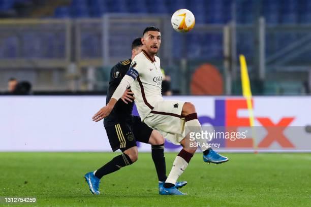 Nicolas Tagliafico of Ajax and Lorenzo Pellegrini of AS Roma during the UEFA Europa League Quarter Final: Leg Two match between AS Roma and Ajax at...