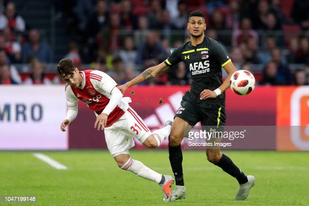Nicolas Tagliafico of Ajax Bjorn Johnsen of AZ Alkmaar during the Dutch Eredivisie match between Ajax v AZ Alkmaar at the Johan Cruijff Arena on...