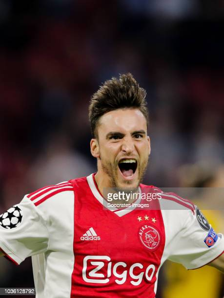 Nicolas Tagliafico of Ajax celebrate the 10 during the UEFA Champions League match between Ajax v AEK Athene at the Johan Cruijff Arena on September...
