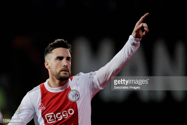 Nicolas Tagliafico of Ajax celebrates 0-5 during the Dutch Eredivisie match between Fortuna Sittard v Ajax at the Fortuna Sittard Stadium on...