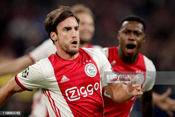 Nicolas Tagliafico of Ajax celebrates 30 during the UEFA Champions League match between Ajax v Lille at the Johan Cruijff Arena on September 17 2019...