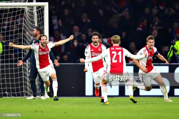 Nicolas Tagliafico of Ajax celebrates a goal that was later disallowed during the UEFA Champions League Round of 16 First Leg match between Ajax and...
