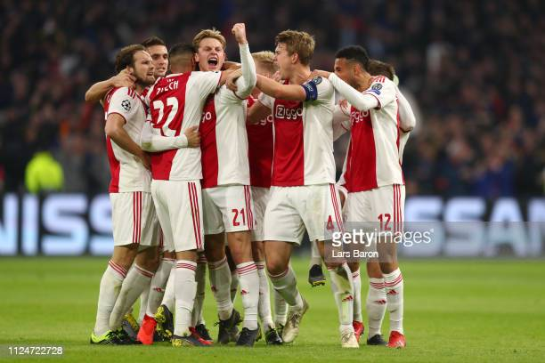 Nicolas Tagliafico of Ajax celebrates after scoring his team's first goal but the goal is later disallowed by the VAR during the UEFA Champions...