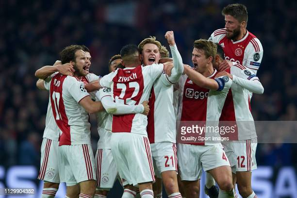 Nicolas Tagliafico of Ajax celebrates after scoring his team's first goal with his teammates but the goal is later disallowed by the VAR during the...