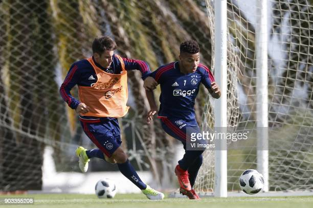 Nicolas Tagliafico of Ajax David Neres of Ajax during a training session of Ajax Amsterdam at the Cascada Resort on January 10 2018 in Lagos Portugal