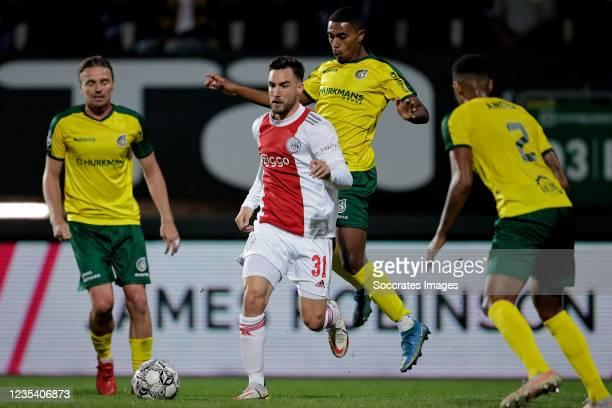 Nicolas Tagliafico of Ajax, Deroy Duarte of Fortuna Sittard during the Dutch Eredivisie match between Fortuna Sittard v Ajax at the Fortuna Sittard...
