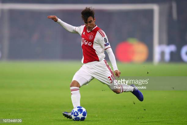 Nicolas Tagliafico of Ajax in action during the UEFA Champions League Group E match between Ajax and FC Bayern Munich at Johan Cruyff Arena on...