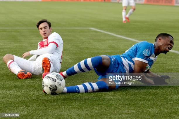 Nicolas Tagliafico of Ajax Kingsley Ehizibue of PEC Zwolle during the Dutch Eredivisie match between PEC Zwolle v Ajax at the MAC3PARK Stadium on...