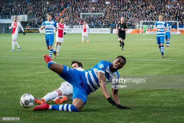 Nicolas Tagliafico of Ajax Kingsley Ehizibue of PEC Zwolle during the Dutch Eredivisie match between PEC Zwolle and Ajax Amsterdam at the MAC3Park...