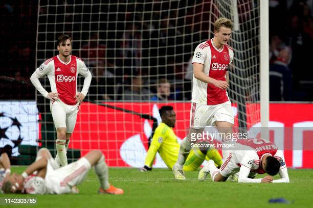 Nicolas Tagliafico of Ajax Matthijs de Ligt of Ajax during the UEFA Champions League match between Ajax v Tottenham Hotspur at the Johan Cruijff...
