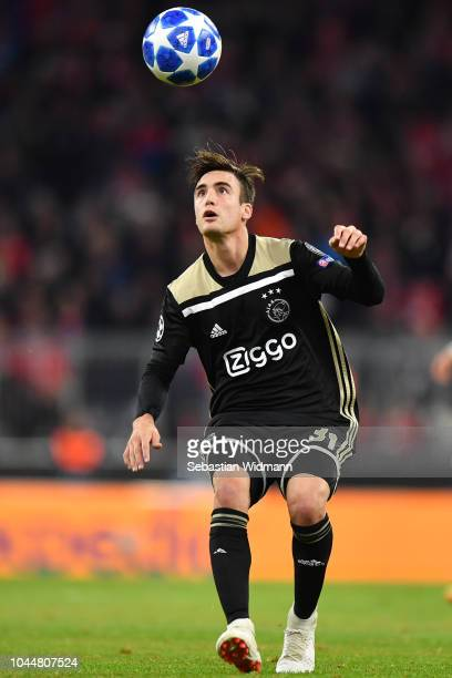 Nicolas Tagliafico of Ajax plays the ball during the Group E match of the UEFA Champions League between FC Bayern Muenchen and Ajax at Allianz Arena...