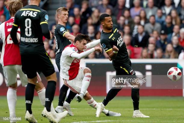 Nicolas Tagliafico of Ajax Ricardo van Rhijn of AZ Alkmaar during the Dutch Eredivisie match between Ajax v AZ Alkmaar at the Johan Cruijff Arena on...