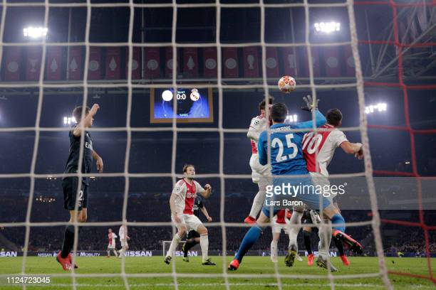 Nicolas Tagliafico of Ajax scores his team's first goal past Thibaut Courtois of Real Madrid but it is later disallowed by VAR during the UEFA...