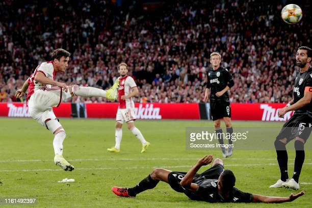 Nicolas Tagliafico of Ajax scores the third goal to make it 21 during the UEFA Champions League match between Ajax v PAOK Saloniki at the Johan...