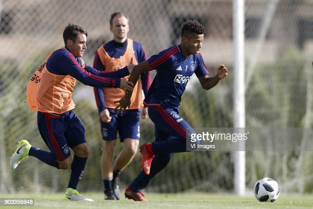 Nicolas Tagliafico of Ajax Siem de Jong of Ajax David Neres of Ajax during a training session of Ajax Amsterdam at the Cascada Resort on January 10...