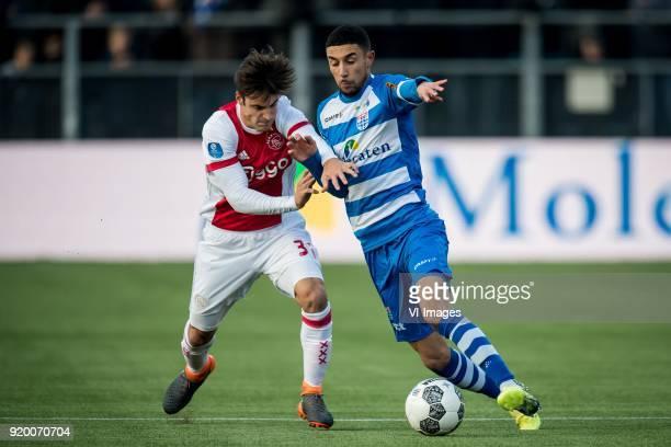 Nicolas Tagliafico of Ajax Younes Namli of PEC Zwolle during the Dutch Eredivisie match between PEC Zwolle and Ajax Amsterdam at the MAC3Park stadium...